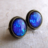 Green and Purple 10mm Antiqued Brass Post Earrings