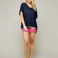 linen jersey drapey scoop neck box tee