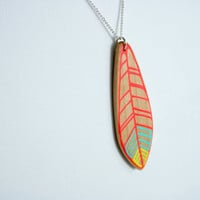 Hand-Painted Wooden Feather Necklace in Neon Pink, Turquoise, and Neon Yellow