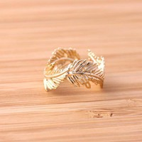 FEATHER RINGadjustable in gold by bythecoco on Zibbet