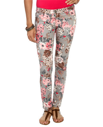 Gray Flower Skinny Jean | Shop Jeans at Wet Seal
