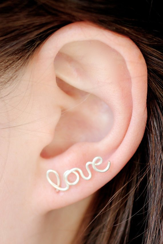 Love Earring : Sterling Silver Plated Love Stud Earring, Cartilage, SIngle, Word, Handwritten, Cursive, Affirmation, Ear Cuff