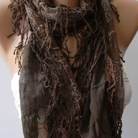 Chocolate - Elegance Shawl / Scarf with Lace Edge