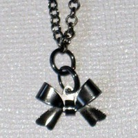 Dark Gray Gunmetal Tiny Bow Charm Earrings and Necklace Set
