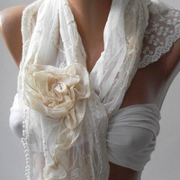 Pearl White -- Elegance Shawl ---- Scarf with Lace Edge........