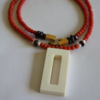 Red Salmon Coral Necklace Garnet Faux Ivory Celluloid Pendant 1960s Jewelry