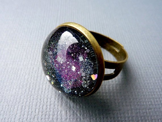 Galaxy Ring, Brass Adjustable Ring, Starry Ring, Cosmic Ring ***SOLD***