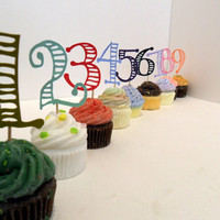 Number Cupcake Toppers Pick Your Colours set of by cakeadoodledoo