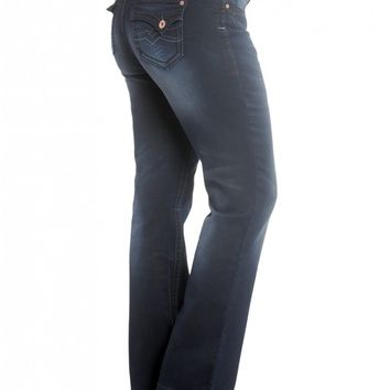 Plus Lola Slim Flare w/ Embroidery Detailed Back Pocket- Ultra Denim: This product features Hydraulic's premium fabri