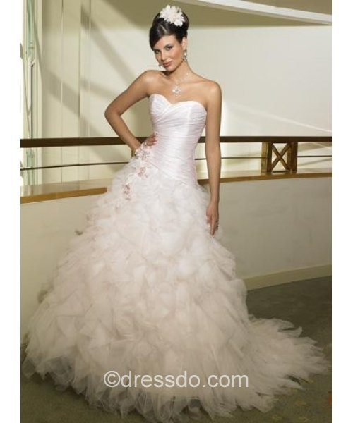 [US$ 181.99] Strapless Sweetheart Sexy Pink Ball Gown Floor-length Sleeveless Organza Wedding Dress with flowers
