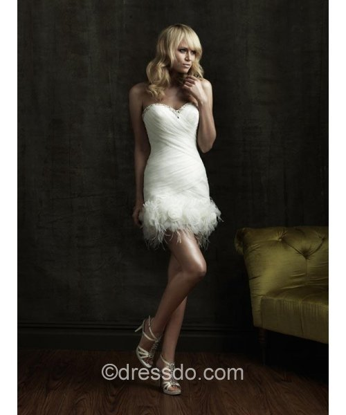 [US$ 117.99] Strapless Sweetheart Sexy White Short/Mini Sleeveless Organza Lace Lace-up Wedding Dress