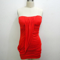 Free Shipping: Red Sexy Party Dress Clubbing Draped Dress Mini Little Red Dress