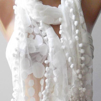 White - Elegance  Shawl - Scarf with Lacy Edge...