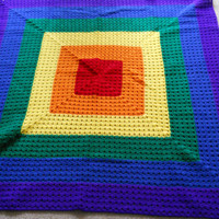Cherry Red, Pumpkin, Bright Yellow, Paddy Green, Royal and Amethyst Lap Blanket
