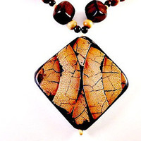 Brown and Beige Wooden Beaded Necklace