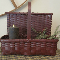 Primitive Painted Handwoven Countertop Basket