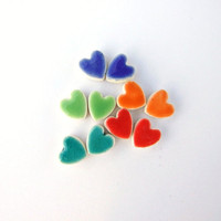 CIJ 20%Colourful ceramic earrings, tiny hearts with contrasting white edges, cute, colorful