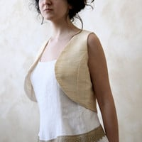 Golden silk boho vest - OOAK