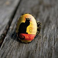 Vintage style Chat Noir - adjustable ring