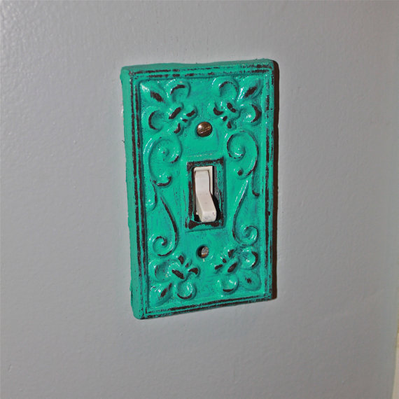 Teal blue decorative light switch plate from Light switch plates decorative