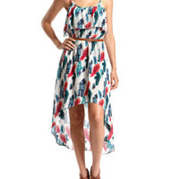 Belted Challis Hi-Low Dress