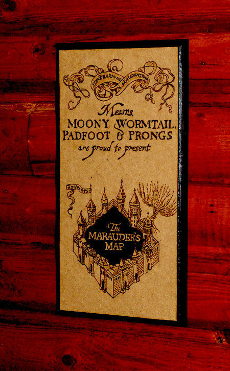 Harry Potter art - Marauder's Map woodburned home decoration