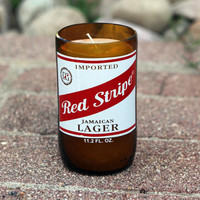 Red Stripe Candle made from a repurposed Red Stripe Beer Bottle