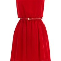 Dip Hem Belted Dress