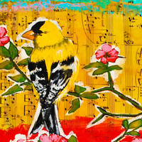Art Print Notecard - Goldfinch and Flowers