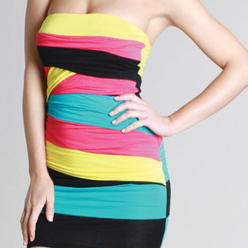 Kami Shade' Sweetheart Multicolor Strapless Summer Dress