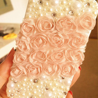 Pink lace flowers style iphone 4 case No.2