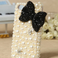 Pearl black bow  iphone 4/4s case  iphone 4/4s protective cover