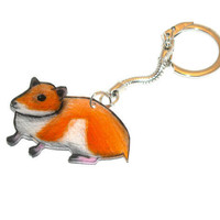 Hamster Keychain, Animal Shrinky Dinks, Cute, Art, Kawaii, Key Chain, Shrink Plastic, Handmade, Orange, White, Creamsicle, Miniature