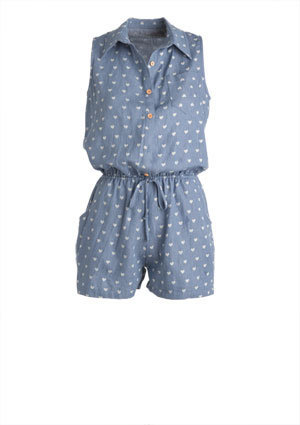 Chambray Heart Romper