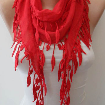 Red Scarf with Red Trim Edge - Summer Scarf --Lightweight-