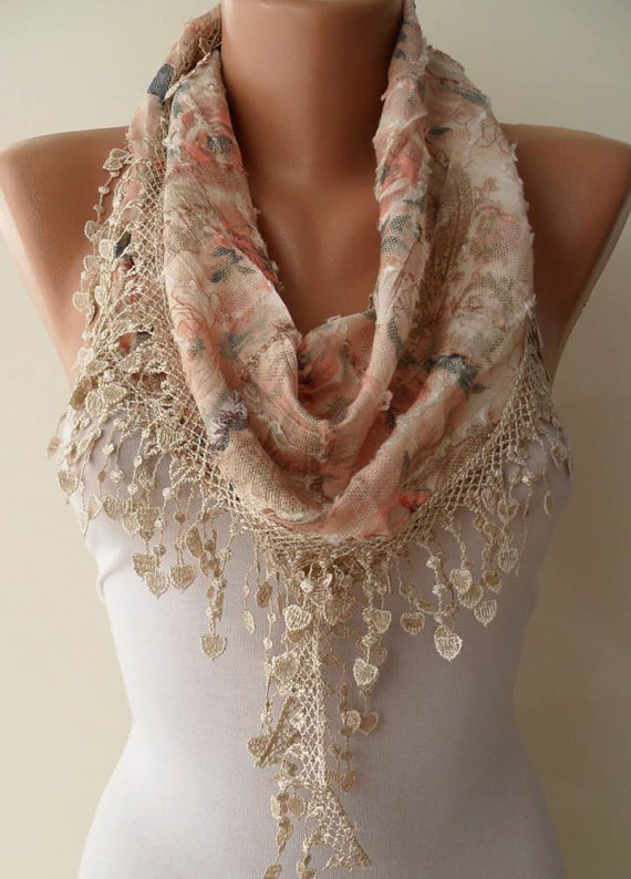 Salmon - Beige  Scarf with Trim Edge - Flowered Fabric