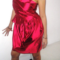 Red Or Blue Silk Short Formal Coctail Dress - Handmade / Free Shipping
