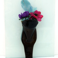 fused glas  Decorated Wall Vase , Eco Friendly Melted recycled bear  Bottle ,