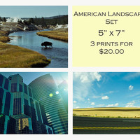 SALE 40% off - Discount 5 x 7 Fine Art Photo Set - American Landscapes Midwest - Wall Art Home Decor - Christmas in July