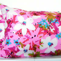 Pink Long Bolster Pillows, Set of 2, Bright Pink Lumbar Decorative Pillows