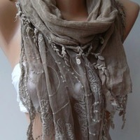 ON SALE/Stone Color -- Elegance Shawl / Scarf with Lace Edge--