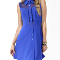 Mesh Panel Shirtdress