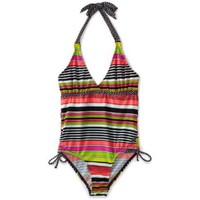 Pink Platinum Girls 7-16 Multi Color Stripe Swimsuit