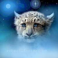 snow leopard cub - wildlife art- SNOW LEOPARD CUB - print - painting