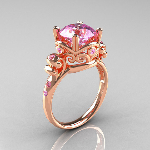 Modern Vintage 14K Rose Gold 2.5 Carat Light Pink Sapphire Wedding, Engagement Ring R167-14KRGLPS
