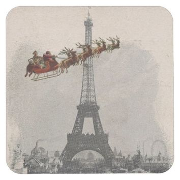 Vintage Santa over Paris Christmas Coaster