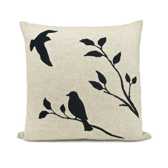 Love birds pillow case - Black flying bird and bird on a branch print on natural beige canvas - 16x16 decorative pillow cover, cij sale
