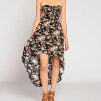 Zip Up Hi Low Flower Bustier Dress