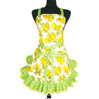 Lemon Apron, Retro Kitchen Style,  White with Green Ruffle