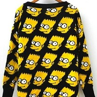 Bright Yellow Black Cute Bart Simpson Sweater Long Sleeve Loose Outwear Funny Cartoon Pullover Knitted Sweater
